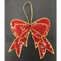 Handmade Christmas Sequin Embroidery Bow Hanging