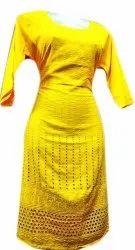 Cotton Casual Wear Ladies Yellow Long Embroidery Kurti self chicken kurti, Wash Care: Machine wash