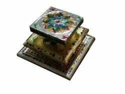 Wooden 8X8 Inch Handicrafts Pooja Chowki