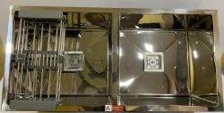 Satin Finish Mirror Double Bowl Kitchen Sink (45 X 20 )inch,