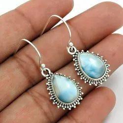 925 Sterling Silver Jewelry Larimar Gemstone Hook Earrings