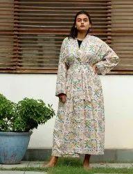 Whiite Cotton Floral Short Kimono Robe