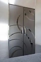 Hinged Toughened Printed Glass Door, Thickness: 10 Mm