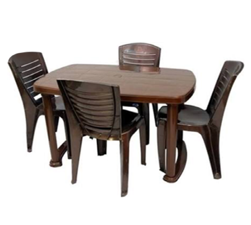 Brown Plastic Dining Table Chair Set, Dining Room Chair Set