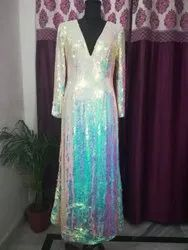 Embroidered White Party Wear Ladies Gown