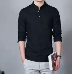 Cotton Men Black Formal Wear Plain Shirt, Handwash