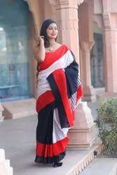 RR Fabric Block Prints Ladies Casual Cotton Saree, 6 m (with blouse piece)