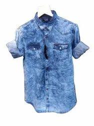 Blue Collar Neck Men Denim Shirt