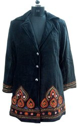 Cotton Velvet Embroidery Jacket, Vintage Black Jacket, Boho Jacket, Vintage Indian Velvet Bohemian