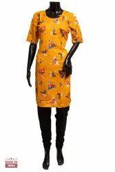 Reyon Casual Wear Ladies Printed Rayon Kurti, Wash Care: Machine wash