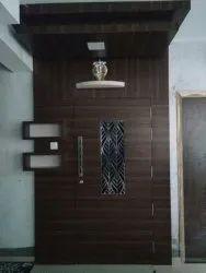 Dark Brown Designer Wooden Safety Door, For Home, Number Of Doors: 2