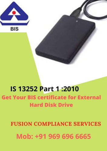 BIS Certification for USB Type External Hard Disk Drive