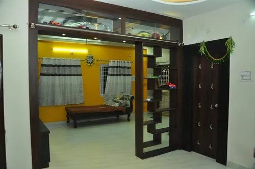 Living Room Wooden Shelved Partition At, Living Room Partition Wall