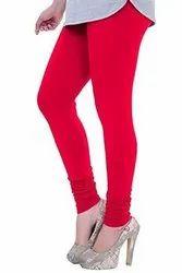 Cotton Lycra Plain Ladies Red Churidar Legging, Size: Free Size