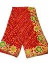 Red Trendy Bandhani Cotton Saree, 6.3 (with Blouse)