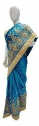 Party Wear Embroidered Blue Designer Ladies Silk Saree, 6.3 m (with blouse piece)