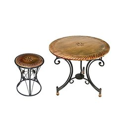 Ansari Crafts Powder Coated Wrought Iron Garden Table And Chairs, For Outdoor, Size: 53.8 X 53.8 X 41.7 Centimeters