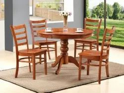 Wood-N-Style Brown Edwi Teak Dining Table Set, For Home,Hotel