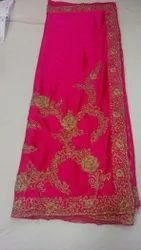 Party Wear Border Pure Satan Hand Work Placement Saree, 6 m (with blouse piece)