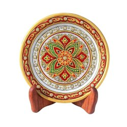 Round White Marble Handicraft Plate With Stand, For Decoration, Size: 6 Inch