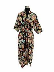 Floral Print Long Kimono Robe