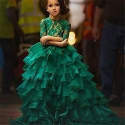 Green Kids Full Length Gown