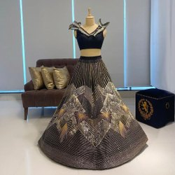 Presetn Velvet Designer Lahenaga Choli With Sequence Embroidery Work