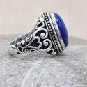 Lapis Gemstone 925 Sterling Silver Jewelry Designer Men Ring