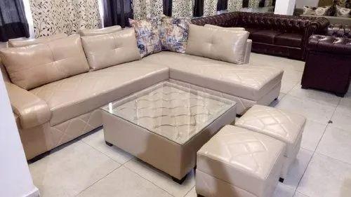 Modern White Leather Sofa Table Set, White Leather Living Room Set