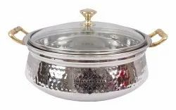 1 Piece Steel Hammered Design Handi with Glass Brass Lid & Handle, 400 ML, For Home