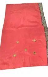 Border Pink Modern Designer Saree, 6 m (with blouse piece)
