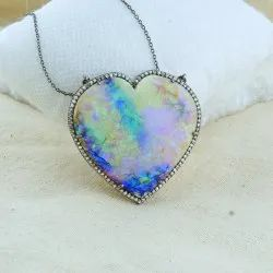 Engagement Natural Heart Opal Gemstone Pendant 925 Silver Opal Necklace, Size: 45mm