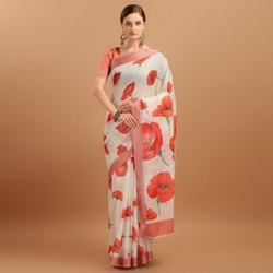 Party Wear Ladies Linen Printed Saree