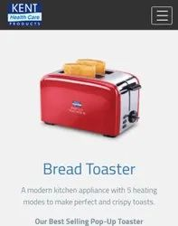 Kent Red 2 Slice Bread Toaster, For Home, Hotel, Toasting