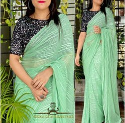 Party Wear Chiffon Saree, With blouse piece, 6.5 Meter