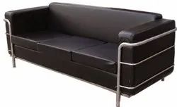 Black,Silver Leather 3 Seater Office Sofa Set, 5 Inch