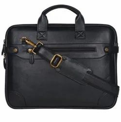 Unisex Black Pu Leather Office Laptop Bag, Size: Standard