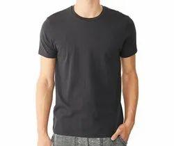 Round Half Sleeve Men Plain Cotton T-Shirt