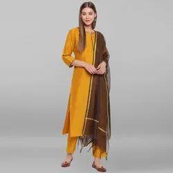 Janasya Women's Mustard Poly Silk Kurta With Pant And Dupatta(SET194)
