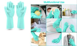 Kitchoff Cleaning Gloves with Wash Scrubber Magic Silicone Reusable Cleaning Gloves