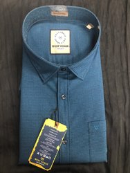 Cotton Collar Neck Men Casual Wear Plain Shirt