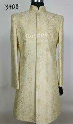 Golden Wedding Wear Gold therad work Sherwani, Size: 36-44