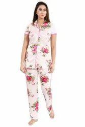 Girls Floral Print Hosiery Night Suit