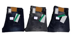 Slim Fit Button Mens Stretch Faded Denim Jeans