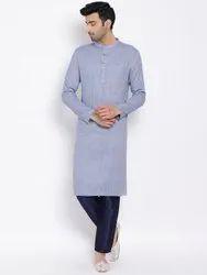 Blue Casual mens cotton kurta, Mandarin Collar
