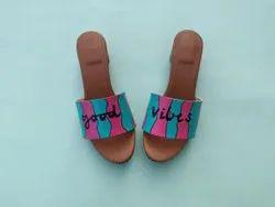 Block custom Hand Painted Waterproof Ladies Sandal, For Daily, Size: 36-41