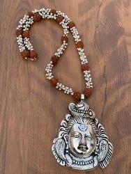 KM Festive German Silver Rudaraksh Unisex Shiva Necklace