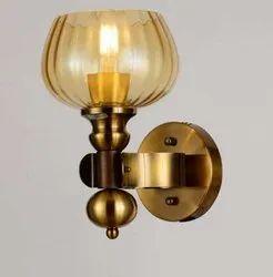 3000k (Warm White) Glass & Metal Contemporary Designer Brass Wall Lamp, 4 Watt