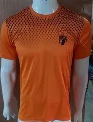 Half Sleeve orange Mens Round Neck T Shirt