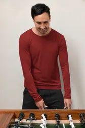 Round Plain Mens Cotton Full Sleeves T Shirt